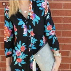 Anthropologie Maeve button front colorful shirt